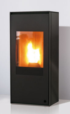 EDILKAMIN LOU de 8 Kw. acero 6 mm espesor, color gris antracita , ventilación forzada desactivable. Fuego de vermiculita.Doble puerta para el cierre. Radiocomando con display en dotación.